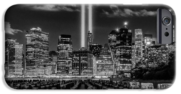 White River Scene Photographs iPhone Cases - 9/11 Tribute Lights - BW iPhone Case by Nick Zelinsky