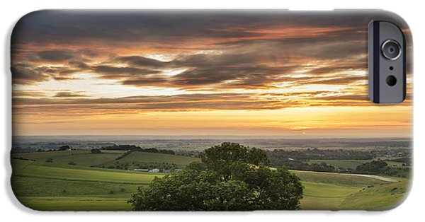 Field. Cloud iPhone Cases - Beautiful Summer sunset landscape Steyning Bowl on South Downs  iPhone Case by Matthew Gibson