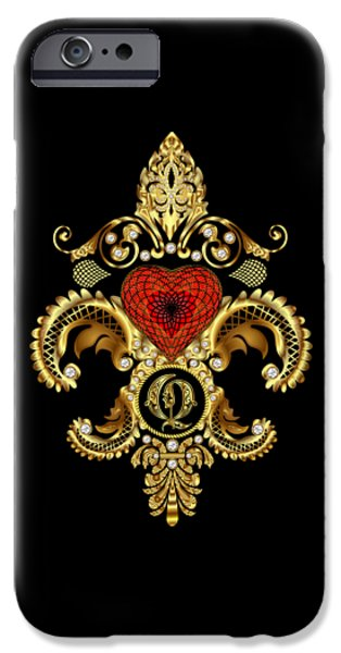Tea Party Mixed Media iPhone Cases - Fleur-de-lis 3 Monograms Duvets Transparent Back Pick Color iPhone Case by Bill Campitelle