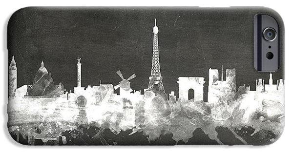 Board Digital Art iPhone Cases - Paris France Skyline iPhone Case by Michael Tompsett