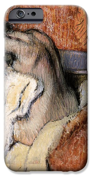 19th Century Pastels iPhone Cases - Woman Drying Herself iPhone Case by Edgar Degas