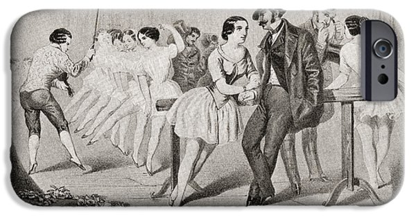 Ballet Dancers iPhone Cases - A 19th Century Ballet Class. From iPhone Case by Ken Welsh