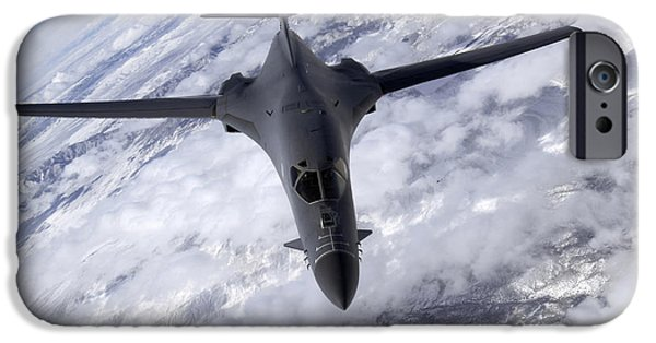 Lancer iPhone Cases - A B-1b Lancer Flies Over The Nevada iPhone Case by Stocktrek Images