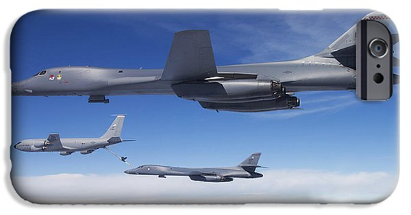 Lancer iPhone Cases - A B-1b Lancer Stands By As Another iPhone Case by Stocktrek Images