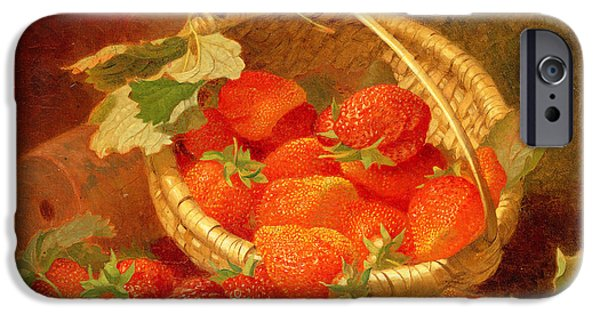 Strawberry iPhone Cases - A Basket of Strawberries on a stone ledge iPhone Case by Eloise Harriet Stannard