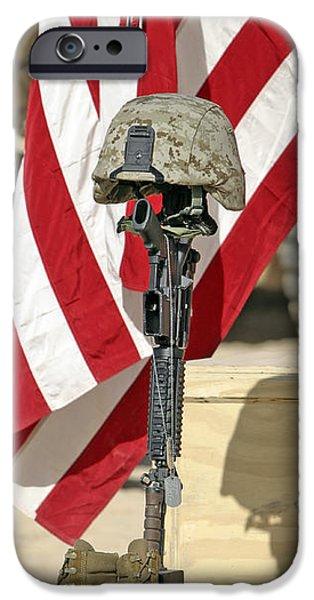 A Battlefield Memorial Cross Rifle iPhone Case by Stocktrek Images
