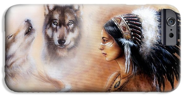 Native American Spirit Portrait iPhone Cases - A beautiful airbrush painting of a young indian woman wearing  iPhone Case by Jozef Klopacka