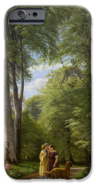 Green Foliage iPhone Cases - A Beech Wood in May near Iselingen Manor iPhone Case by Peter Christian Skovgaard