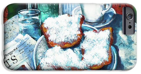 Newspaper iPhone Cases - A Beignet Morning iPhone Case by Dianne Parks