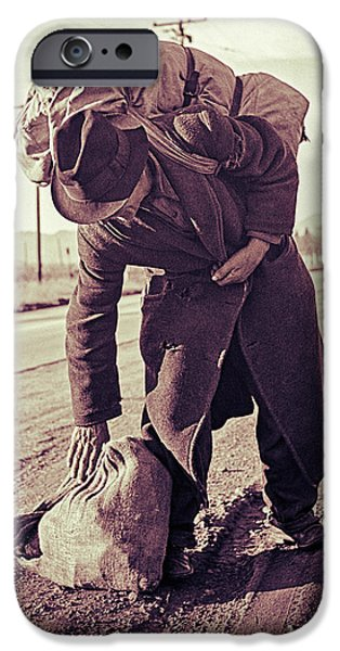 Walking Beat iPhone Cases - A Bindlestiff iPhone Case by Carlos Lazurtegui