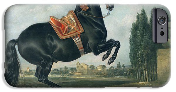 Rural iPhone Cases - A black horse performing the Courbette iPhone Case by Johann Georg Hamilton