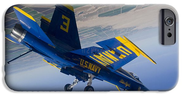 Angel Blues iPhone Cases - A Blue Angels pilot Blue Angels performs a diamond dirty loop. iPhone Case by Celestial Images
