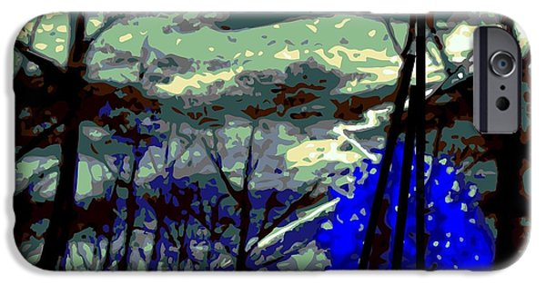 Tree Art Print iPhone Cases - A blue stormy mood iPhone Case by Larry E