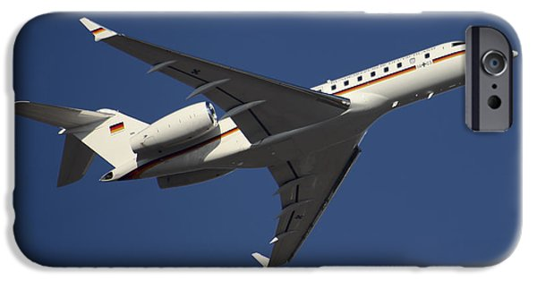 Air Force One iPhone Cases - A Bombardier Global 5000 Vip Jet iPhone Case by Timm Ziegenthaler