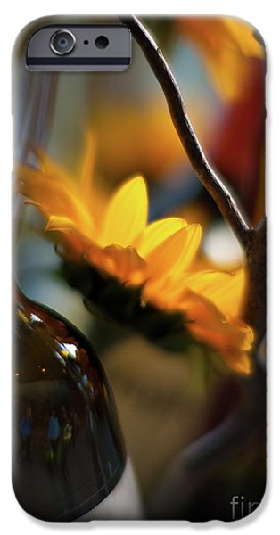 Abstract Sunflower iPhone Cases - A Bottle and Sunflowers iPhone Case by Mike Reid