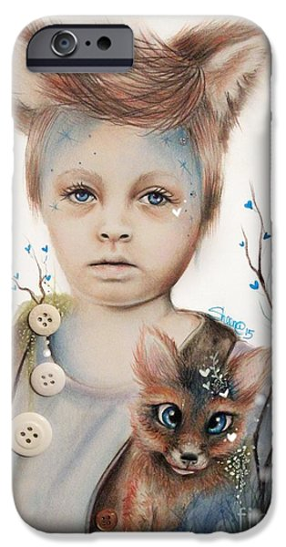 Innocence Mixed Media iPhone Cases - A Boy and His Fox   iPhone Case by Sheena Pike