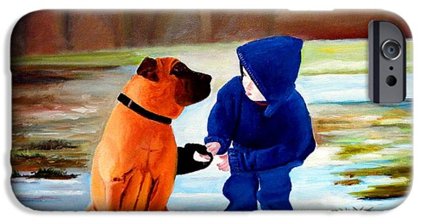 Dogs iPhone Cases - A Boys Best Friend iPhone Case by JoeRay Kelley