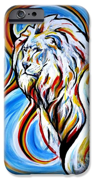 Red Abstract iPhone Cases - A Brilliant Lion iPhone Case by Pedro  Flores