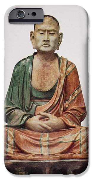 Religious Drawings iPhone Cases - A Buddhist Apostle, Tang iPhone Case by Ken Welsh