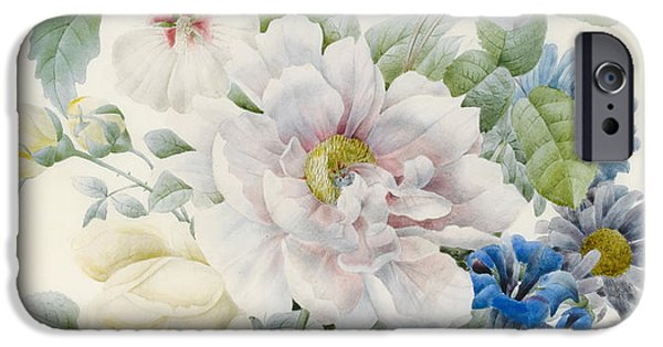 19th Century Drawings iPhone Cases - A Bunch of Flowers iPhone Case by Pierre Joseph Redoute