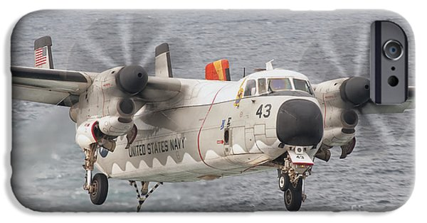 Greyhound Photographs iPhone Cases - A C-2a Greyhound Prepares For Landing iPhone Case by Giovanni Colla