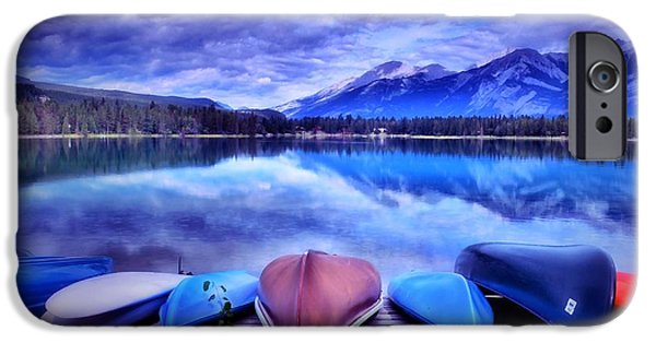 Canoe Digital iPhone Cases - A Calm Afternoon at Lake Edith iPhone Case by Tara Turner