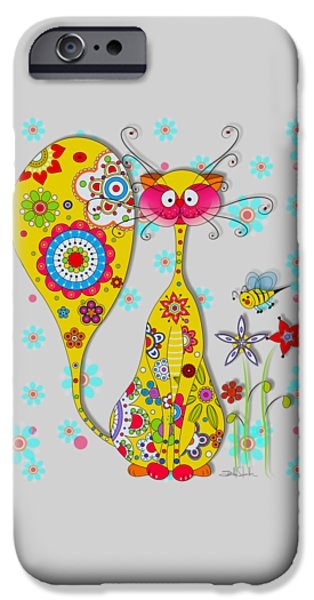 Beautiful Cat Drawings iPhone Cases - A Cat and a little bee iPhone Case by Isabel Salvador