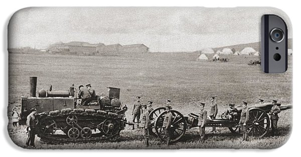 Ww1 Drawings iPhone Cases - A Caterpillar Wheeled Traction Engine iPhone Case by Ken Welsh