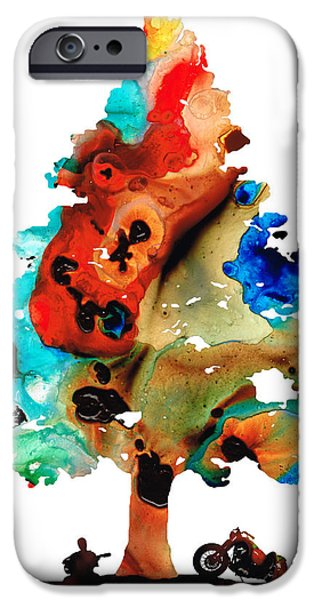 A Certain Kind Of Freedom - Guitar Motorcycle Art Print iPhone Case by Sharon Cummings
