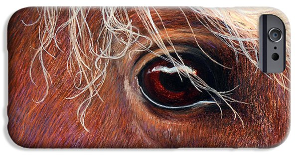 Horse Pastels iPhone Cases - A Closer Look iPhone Case by Tanja Ware