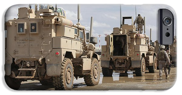 Afghanistan iPhone Cases - A Convoy Of Mrap Vehicles Near Camp iPhone Case by Stocktrek Images