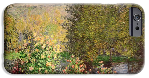 Reflection Paintings iPhone Cases - A Corner of the Garden at Montgeron iPhone Case by Claude Monet