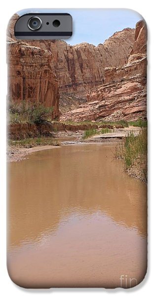 Slickrock iPhone Cases - A Creek Flows Through It 2 iPhone Case by Tonya Hance