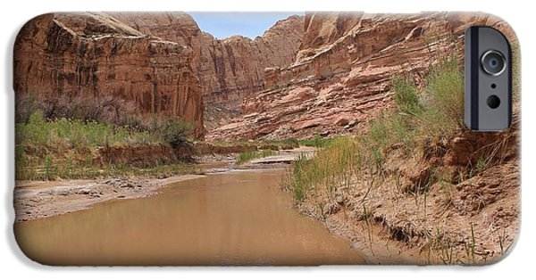 Slickrock iPhone Cases - A Creek Flows through It iPhone Case by Tonya Hance