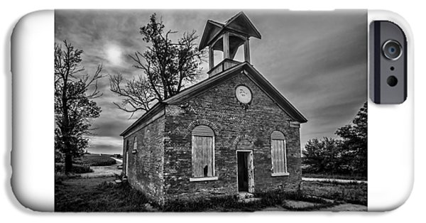 One Room School Houses iPhone Cases - A crumbling one room school house amongst the cornfields iPhone Case by Sven Brogren