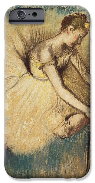 Green Pastels iPhone Cases - A Dancer Putting on her Shoe iPhone Case by Edgar Degas