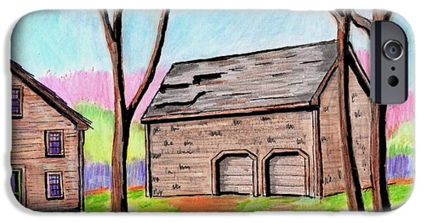 Old Barn Drawing iPhone Cases - A Danvers Barn iPhone Case by Paul Meinerth