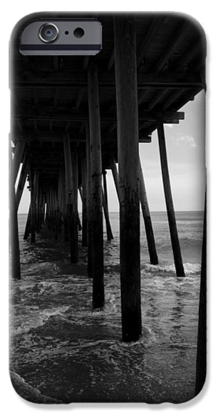 Monochrome Pyrography iPhone Cases - A Day at Virginia Beach #2 iPhone Case by Rebecca Davis