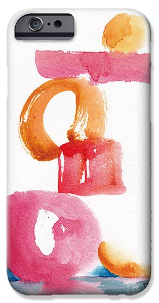 Alizarin Crimson iPhone Cases - A Delicate Balance Abstract #5 iPhone Case by Pat Katz