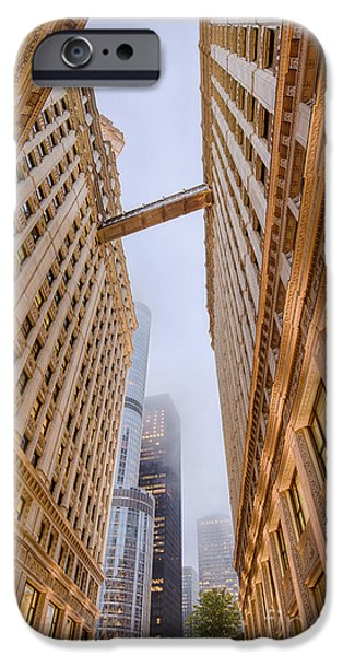 Wrigley iPhone Cases - A Different Perspective of the Wrigley Building And Trump Tower Playing Hide and Seek - Chicago iPhone Case by Silvio Ligutti