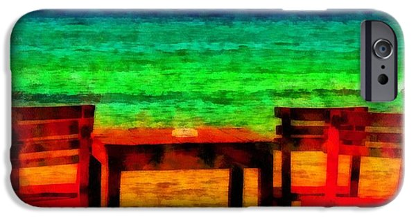 Beach Landscape iPhone Cases - A digitally constructed painting of cafe table next to the sea in aquarelle style iPhone Case by Ken Biggs