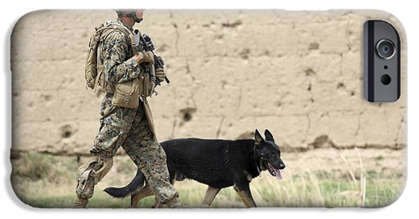 Bonding iPhone Cases - A Dog Handler Of The U.s. Marine Corps iPhone Case by Stocktrek Images