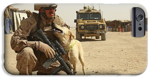 Bonding iPhone Cases - A Dog Handler Posts Security With An iPhone Case by Stocktrek Images
