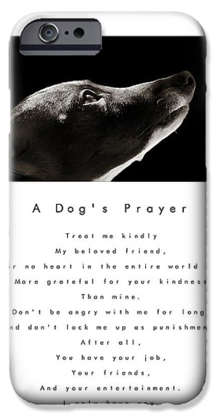 Rescued Greyhound iPhone Cases - A Dogs Prayer - White iPhone Case by Angela Rath