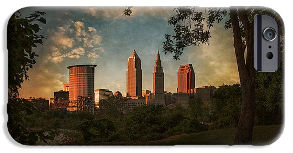 Buildings iPhone Cases - A Dramatic View of Cleveland iPhone Case by Dale Kincaid