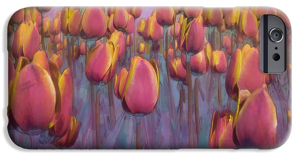 Pastel iPhone Cases - A Field of Tulips iPhone Case by Hal Halli