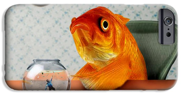 Fish Mixed Media iPhone Cases - A Fish Out Of Water iPhone Case by Carrie Jackson