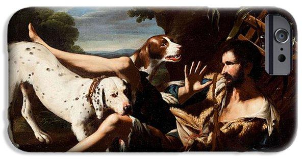 Dog In Landscape iPhone Cases - A Flask-Bearer Surprised by Two Dogs in a Landscape iPhone Case by MotionAge Designs