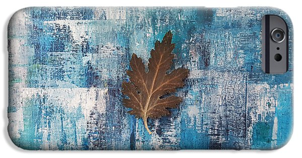 Rainy Day Mixed Media iPhone Cases - A flying leaf in rainy day iPhone Case by Kathleen Wong