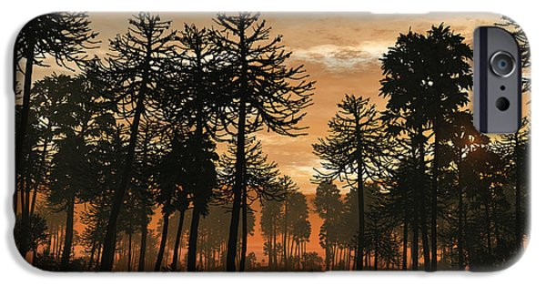 Triassic iPhone Cases - A Forest Of Cordaites And Araucaria iPhone Case by Walter Myers
